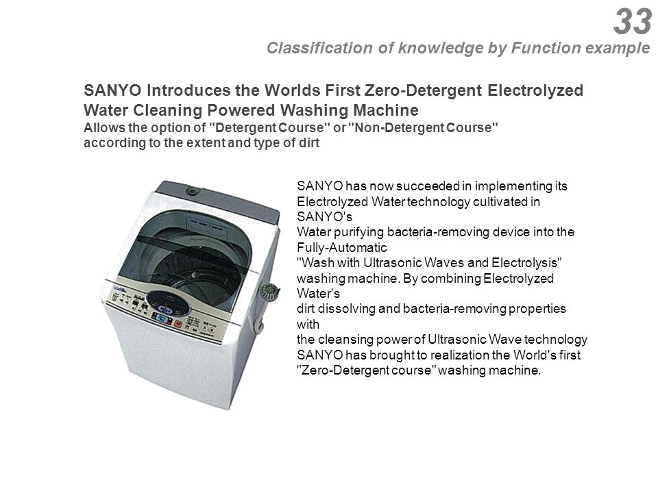 33 SANYO Introduces the Worlds First Zero-Detergent Electrolyzed Water Cleaning Powered Washing Machine Allows the option of Detergent Course or Non-Detergent Course according to the extent and type of dirt SANYO has now succeeded in implementing its Electrolyzed Water technology cultivated in SANYO s Water purifying bacteria-removing device into the Fully-Automatic Wash with Ultrasonic Waves and Electrolysis washing machine.