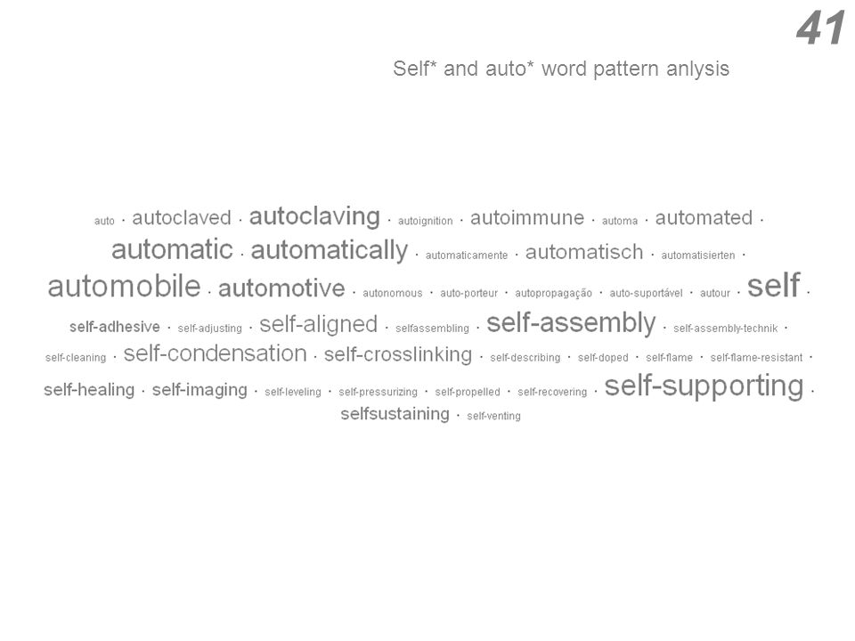 Self* and auto* word pattern anlysis 41