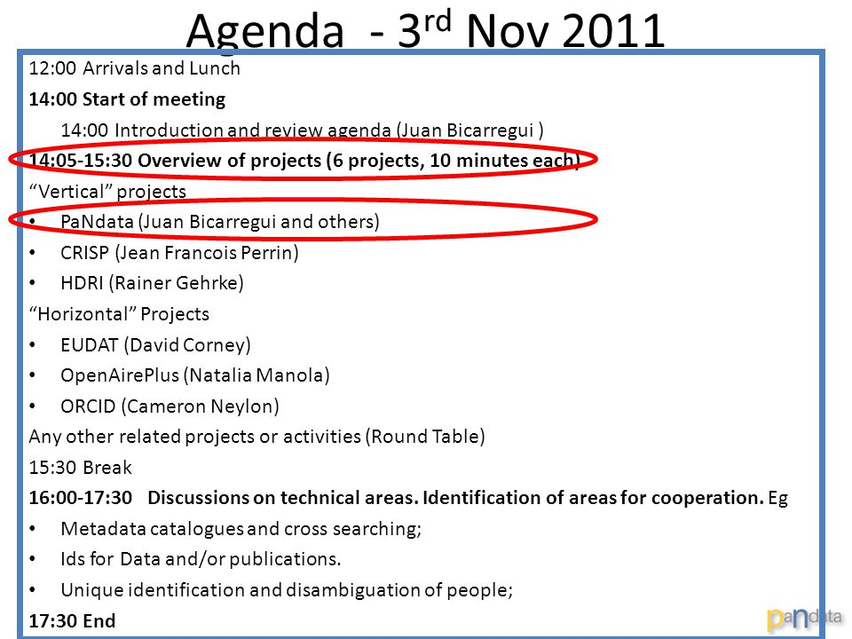 Agenda - 3 rd Nov 2011 12:00 Arrivals and Lunch 14:00 Start of meeting 14:00 Introduction and review agenda (Juan Bicarregui ) 14:05-15:30 Overview of