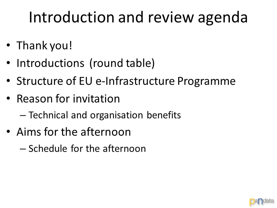 Introduction and review agenda Thank you.