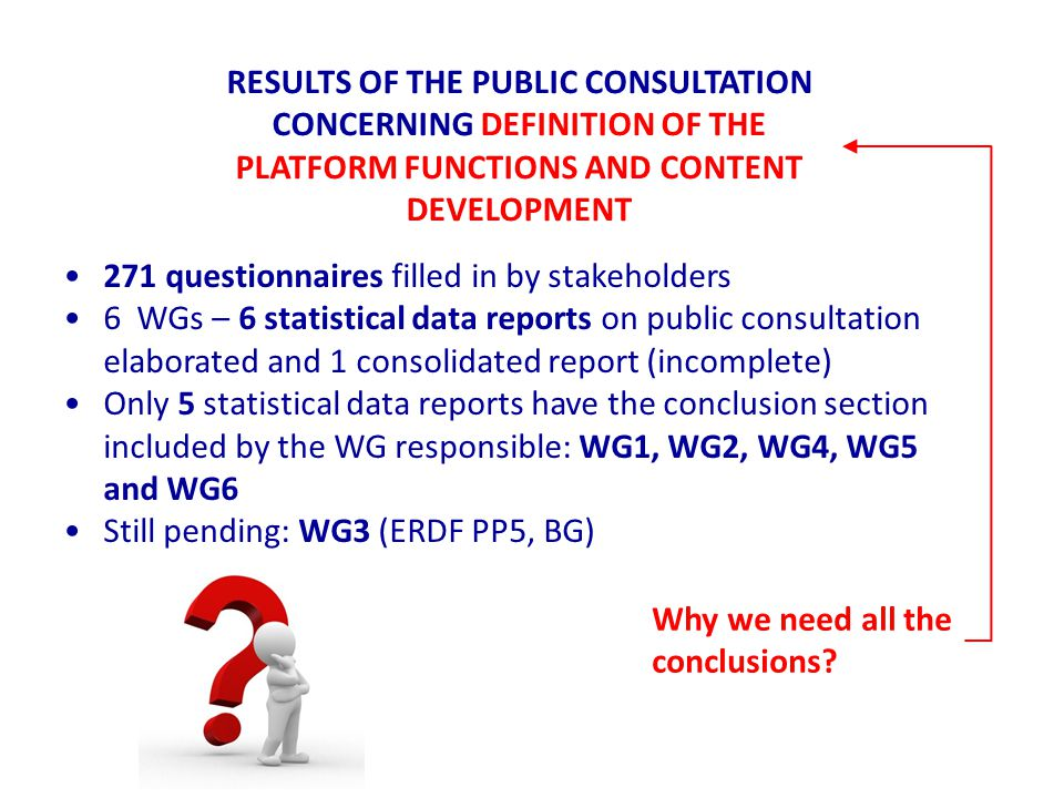 RESULTS OF THE PUBLIC CONSULTATION CONCERNING DEFINITION OF THE PLATFORM FUNCTIONS AND CONTENT DEVELOPMENT 271 questionnaires filled in by stakeholders 6 WGs – 6 statistical data reports on public consultation elaborated and 1 consolidated report (incomplete) Only 5 statistical data reports have the conclusion section included by the WG responsible: WG1, WG2, WG4, WG5 and WG6 Still pending: WG3 (ERDF PP5, BG) Why we need all the conclusions