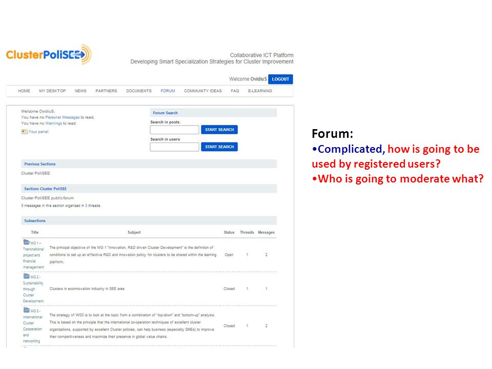 Forum: Complicated, how is going to be used by registered users? Who is going to moderate what?