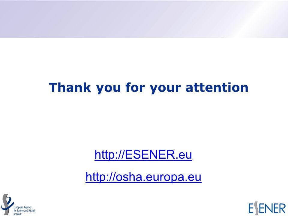 Thank you for your attention http://ESENER.eu http://osha.europa.eu