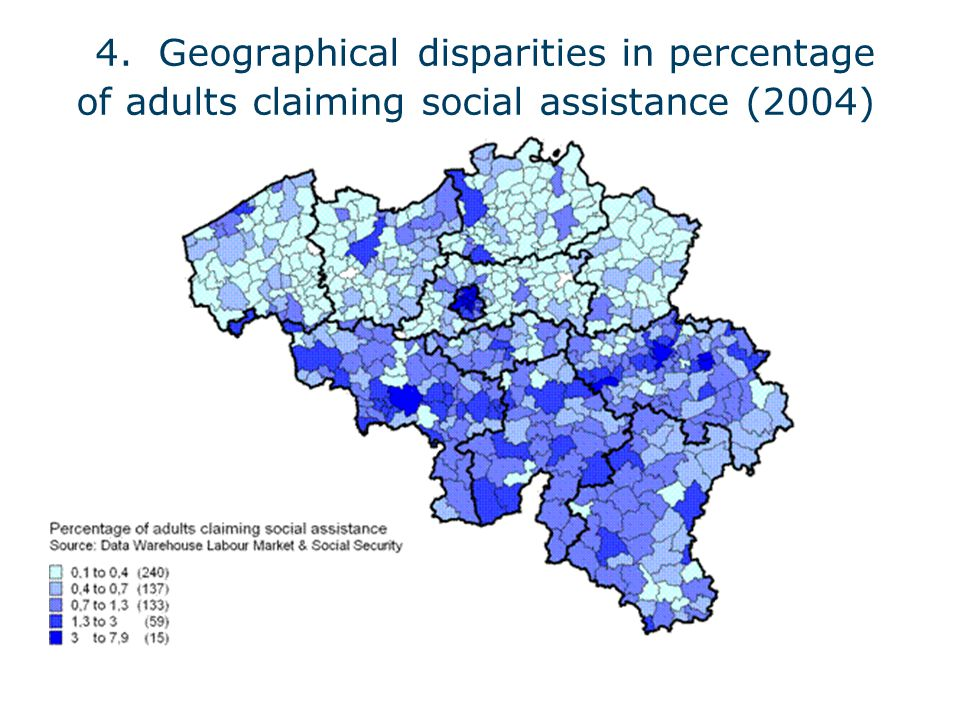 4. Geographical disparities in percentage of adults claiming social assistance (2004)