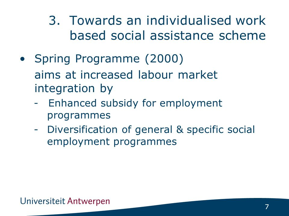 7 Spring Programme (2000) aims at increased labour market integration by -Enhanced subsidy for employment programmes -Diversification of general & specific social employment programmes 3.