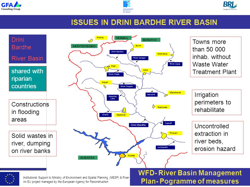 Institutional Support to Ministry of Environment and Spatial Planning (MESP) & River Basin Authorities An EU project managed by the European Agency for Reconstruction ISSUES IN DRINI BARDHE RIVER BASIN shared with riparian countries Drini Bardhe River Basin Towns more than 50 000 inhab.