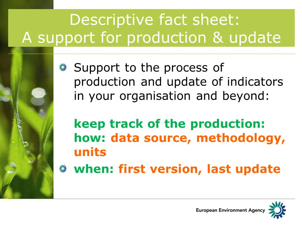 Descriptive fact sheet: A support for production & update Support to the process of production and update of indicators in your organisation and beyond: keep track of the production: how: data source, methodology, units when: first version, last update