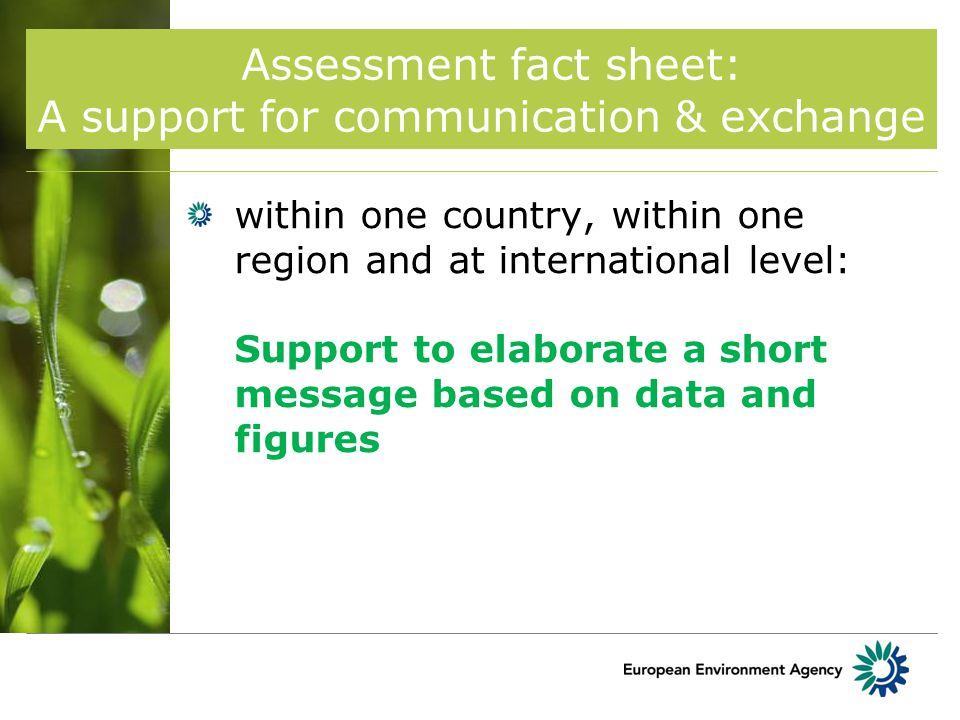 Assessment fact sheet: A support for communication & exchange within one country, within one region and at international level: Support to elaborate a short message based on data and figures