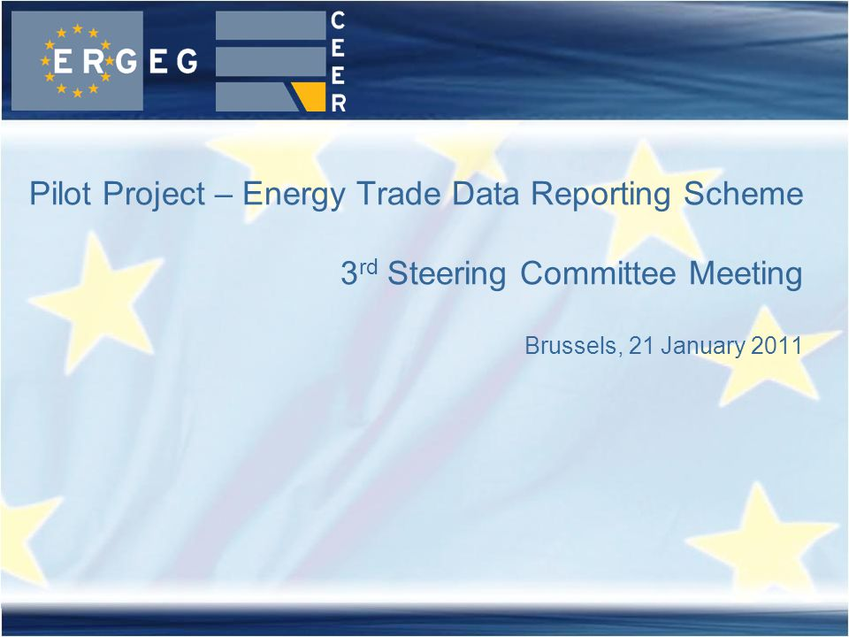 Pilot Project – Energy Trade Data Reporting Scheme 3 rd Steering Committee Meeting Brussels, 21 January 2011