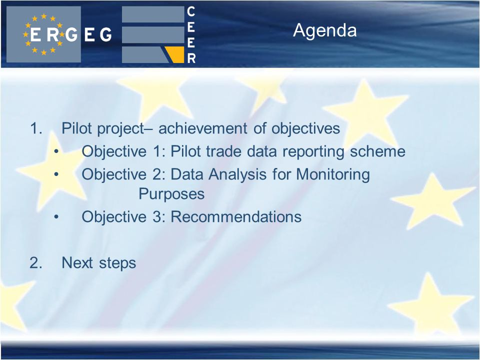 Agenda 1.Pilot project– achievement of objectives Objective 1: Pilot trade data reporting scheme Objective 2: Data Analysis for Monitoring Purposes Objective 3: Recommendations 2.Next steps