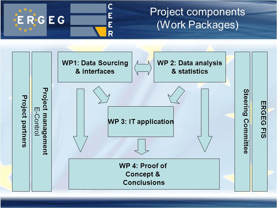 Project components (Work Packages) Project management E-Control WP1: Data Sourcing & interfaces WP 2: Data analysis & statistics WP 3: IT application WP 4: Proof of Concept & Conclusions Steering Committee ERGEG FIS Project partners
