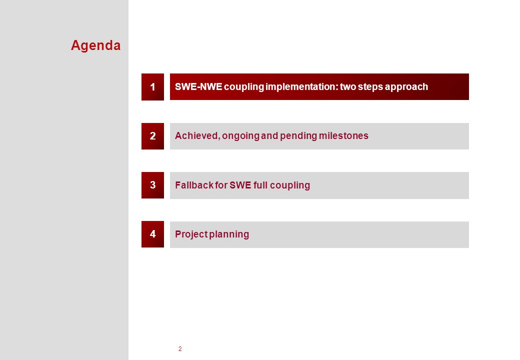 2 Agenda SWE-NWE coupling implementation: two steps approach Achieved, ongoing and pending milestones Fallback for SWE full coupling 1 3 2 Project planning 4