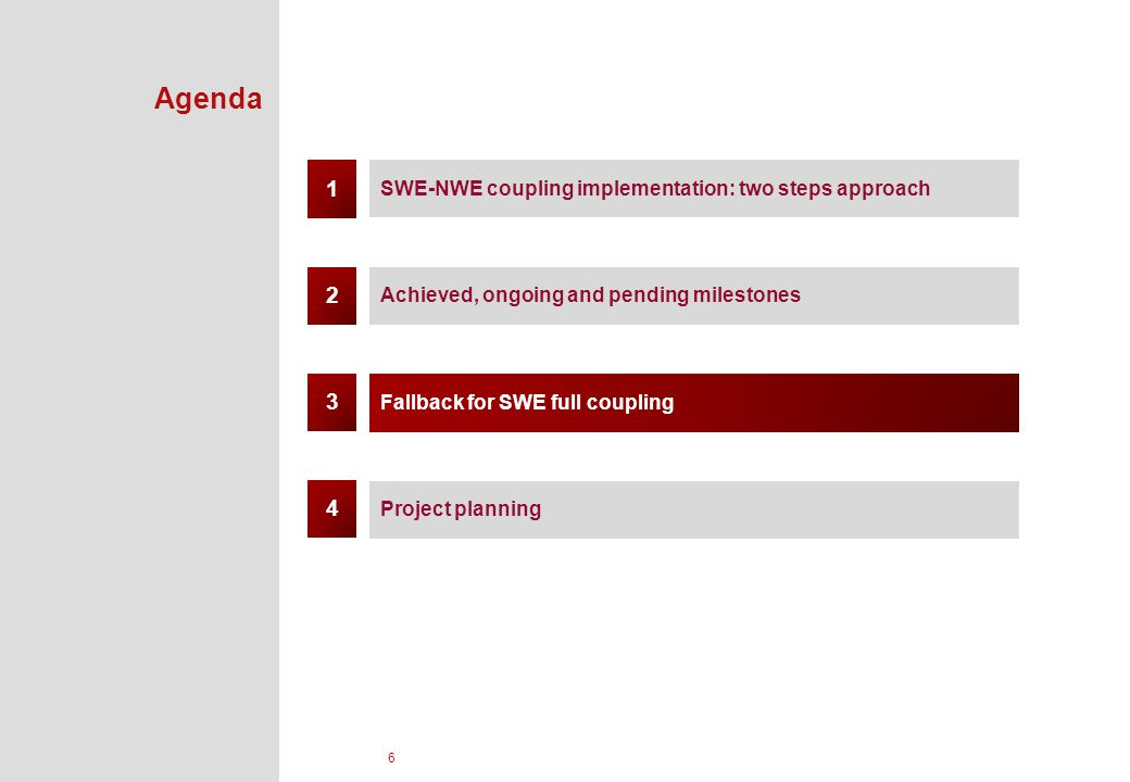 6 Agenda SWE-NWE coupling implementation: two steps approach Achieved, ongoing and pending milestones Fallback for SWE full coupling 1 3 2 Project planning 4