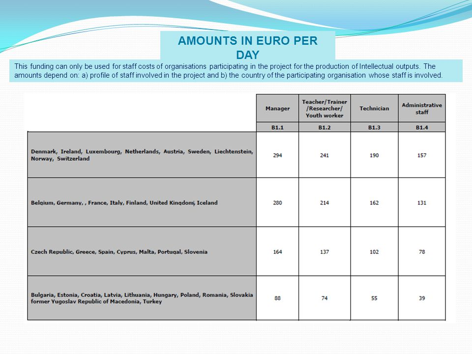 AMOUNTS IN EURO PER DAY This funding can only be used for staff costs of organisations participating in the project for the production of Intellectual outputs.
