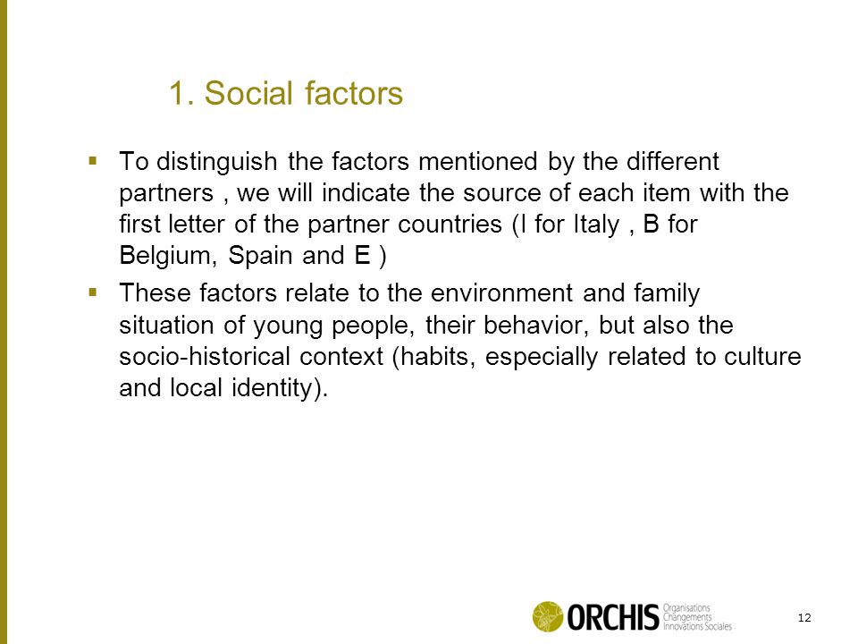  To distinguish the factors mentioned by the different partners, we will indicate the source of each item with the first letter of the partner countries (I for Italy, B for Belgium, Spain and E )  These factors relate to the environment and family situation of young people, their behavior, but also the socio-historical context (habits, especially related to culture and local identity).