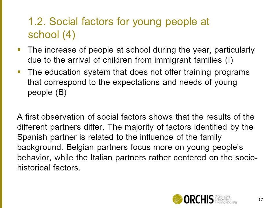  The increase of people at school during the year, particularly due to the arrival of children from immigrant families (I)  The education system that does not offer training programs that correspond to the expectations and needs of young people (B) A first observation of social factors shows that the results of the different partners differ.