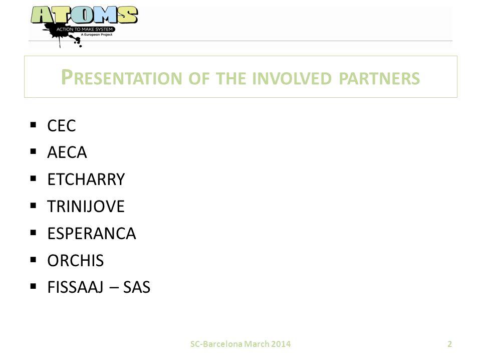 P RESENTATION OF THE INVOLVED PARTNERS  CEC  AECA  ETCHARRY  TRINIJOVE  ESPERANCA  ORCHIS  FISSAAJ – SAS SC-Barcelona March 20142