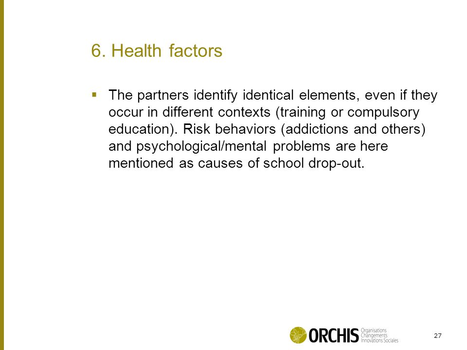  The partners identify identical elements, even if they occur in different contexts (training or compulsory education).