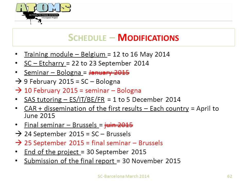 S CHEDULE – M ODIFICATIONS SC-Barcelona March 201462 Training module – Belgium = 12 to 16 May 2014 SC – Etcharry = 22 to 23 September 2014 Seminar – Bologna = January 2015  9 February 2015 = SC – Bologna  10 February 2015 = seminar – Bologna SAS tutoring – ES/IT/BE/FR = 1 to 5 December 2014 CAR + dissemination of the first results – Each country = April to June 2015 Final seminar – Brussels = juin 2015  24 September 2015 = SC – Brussels  25 September 2015 = final seminar – Brussels End of the project = 30 September 2015 Submission of the final report = 30 November 2015