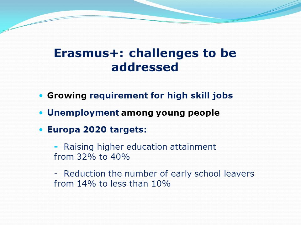 Growing requirement for high skill jobs Unemployment among young people Europa 2020 targets: - Raising higher education attainment from 32% to 40% - Reduction the number of early school leavers from 14% to less than 10% Erasmus+: challenges to be addressed