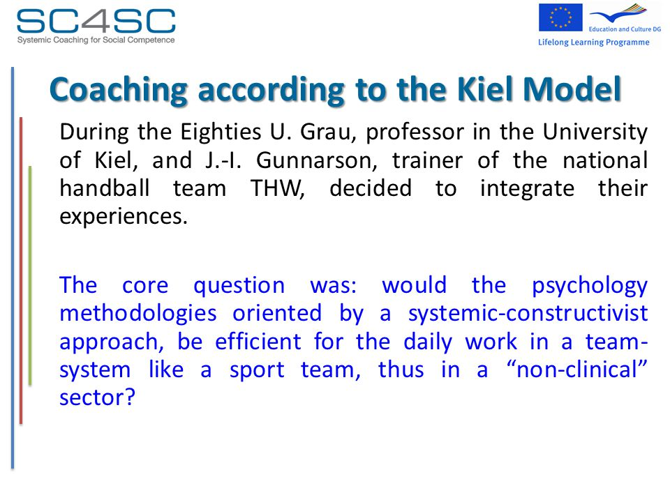 Coaching according to the Kiel Model During the Eighties U. Grau, professor in the University of Kiel, and J.-I. Gunnarson, trainer of the national ha