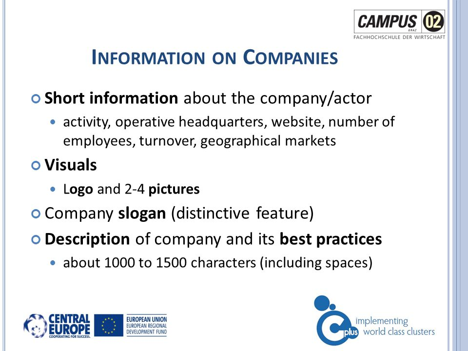 I NFORMATION ON C OMPANIES Short information about the company/actor activity, operative headquarters, website, number of employees, turnover, geographical markets Visuals Logo and 2-4 pictures Company slogan (distinctive feature) Description of company and its best practices about 1000 to 1500 characters (including spaces)