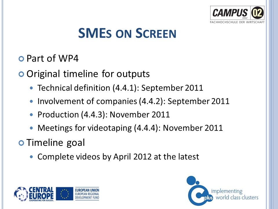Part of WP4 Original timeline for outputs Technical definition (4.4.1): September 2011 Involvement of companies (4.4.2): September 2011 Production (4.4.3): November 2011 Meetings for videotaping (4.4.4): November 2011 Timeline goal Complete videos by April 2012 at the latest