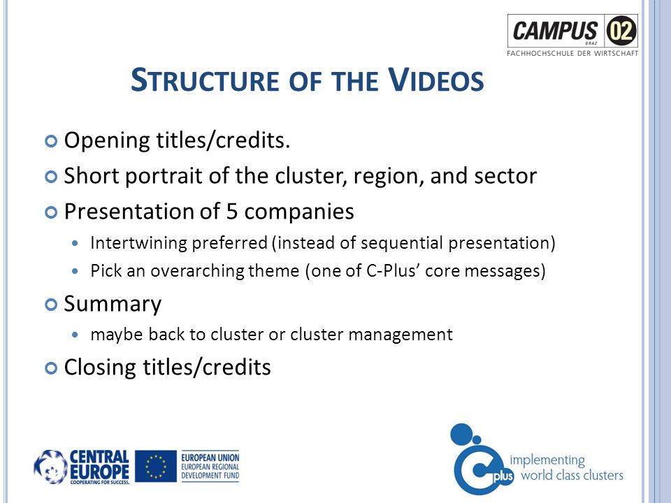 V ISUAL S TYLE AND L ANGUAGE Style should be the same for every video CAMPUS 02 will provide Production ready templates for opening / closing Guidelines for style (e.g.