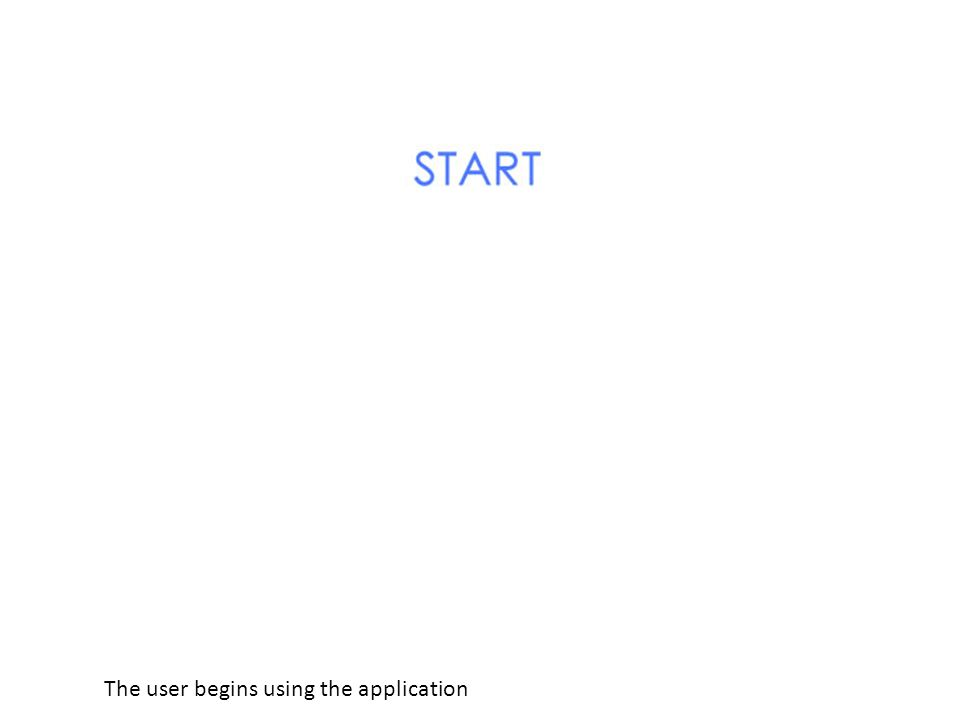 The user begins using the application