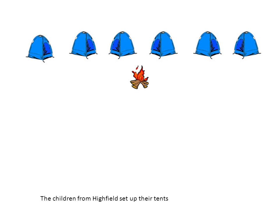 The children from Highfield set up their tents