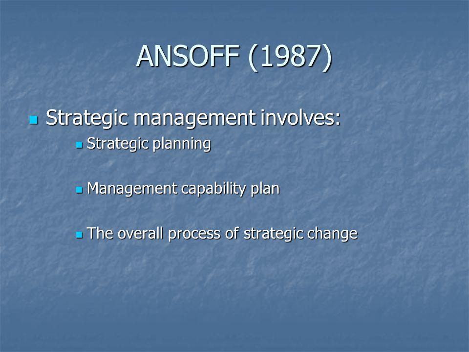 ANSOFF (1987) Strategic management involves: Strategic management involves: Strategic planning Strategic planning Management capability plan Management capability plan The overall process of strategic change The overall process of strategic change