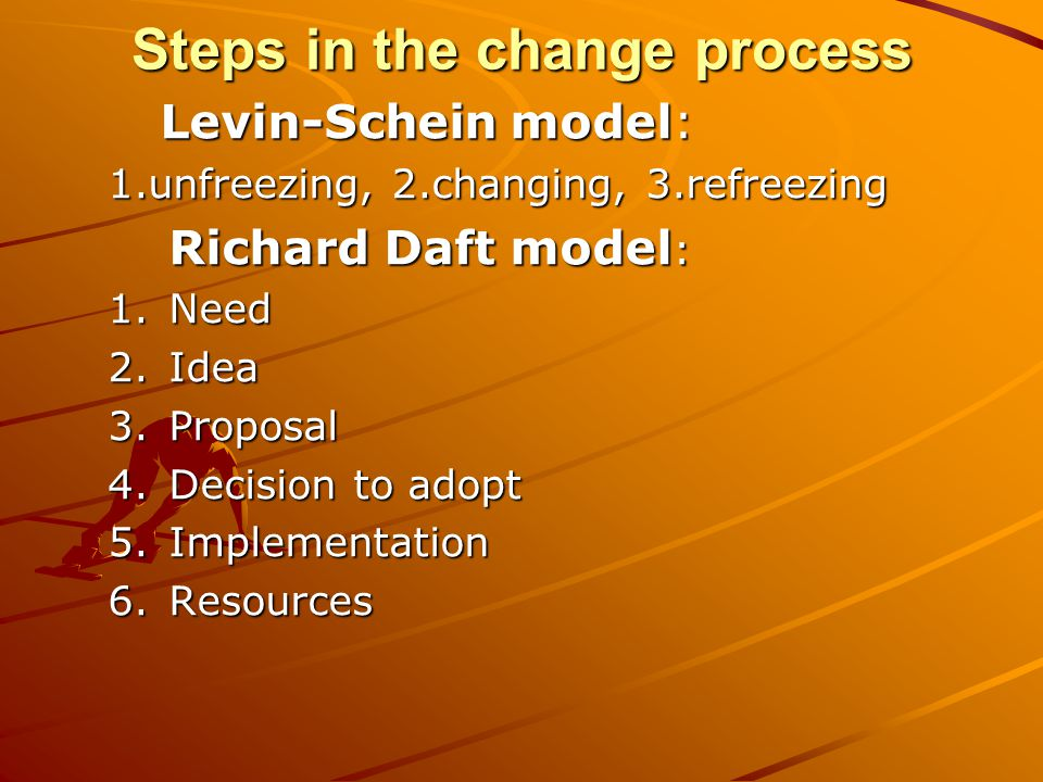 Steps in the change process Levin-Schein model: 1.unfreezing, 2.changing, 3.refreezing Richard Daft model : 1.Need 2.Idea 3.Proposal 4.Decision to adopt 5.Implementation 6.Resources