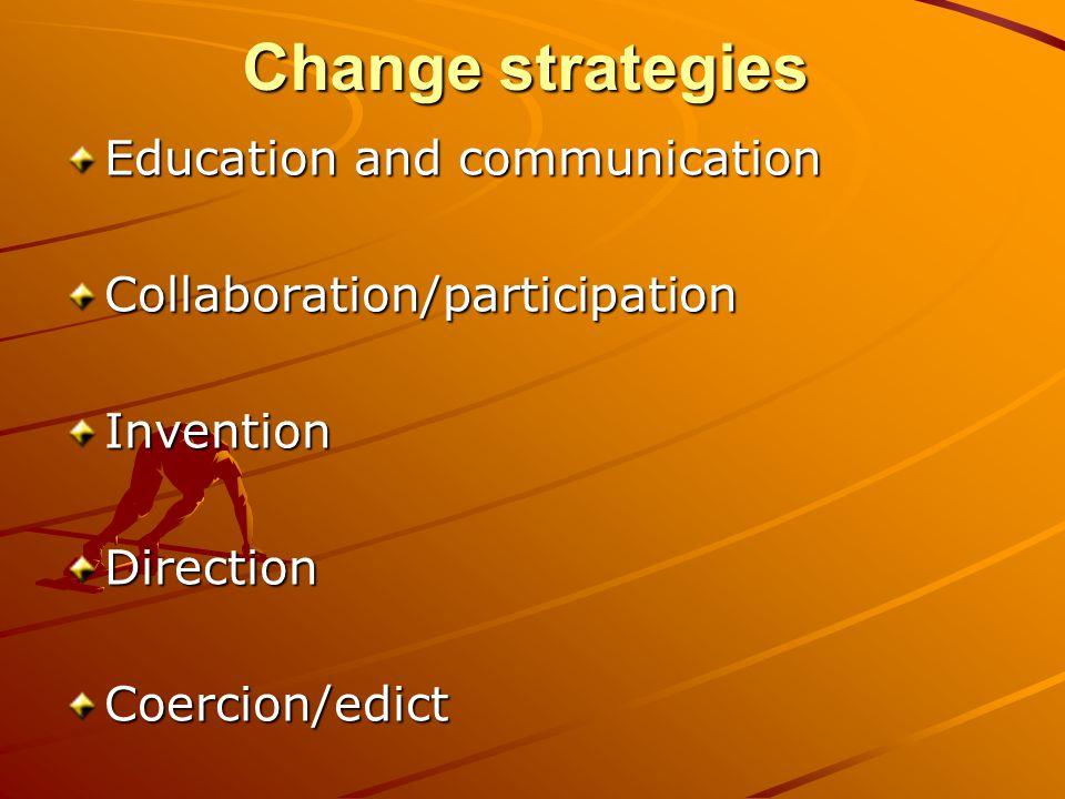 Change strategies Education and communication Collaboration/participationInventionDirectionCoercion/edict
