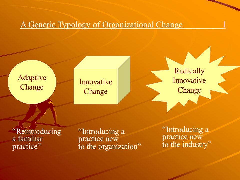 "Adaptive Change Innovative Change Radically Innovative Change ""Reintroducing a familiar practice"" ""Introducing a practice new to the organization"" ""In"