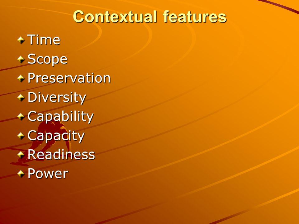 Contextual features TimeScopePreservationDiversityCapabilityCapacityReadinessPower