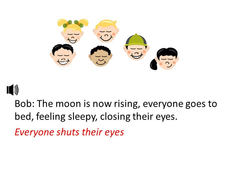 Bob: The moon is now rising, everyone goes to bed, feeling sleepy, closing their eyes. Everyone shuts their eyes