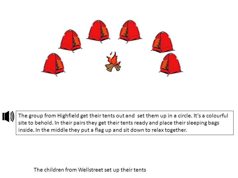 The children from Wellstreet set up their tents The group from Highfield get their tents out and set them up in a circle. It's a colourful site to beh