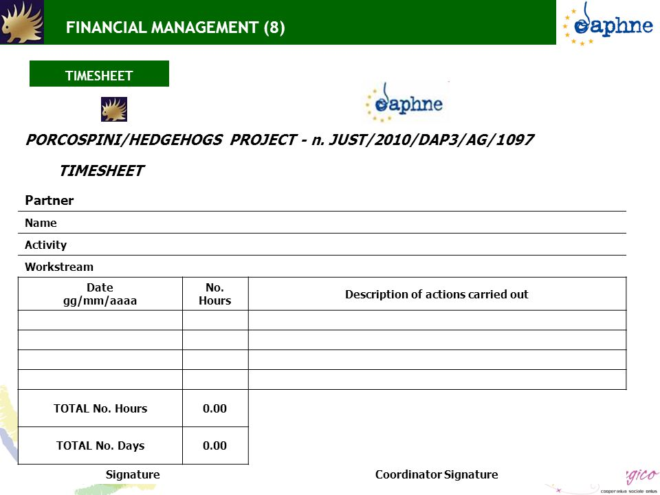 FINANCIAL MANAGEMENT (8) TIMESHEET PORCOSPINI/HEDGEHOGS PROJECT - n.