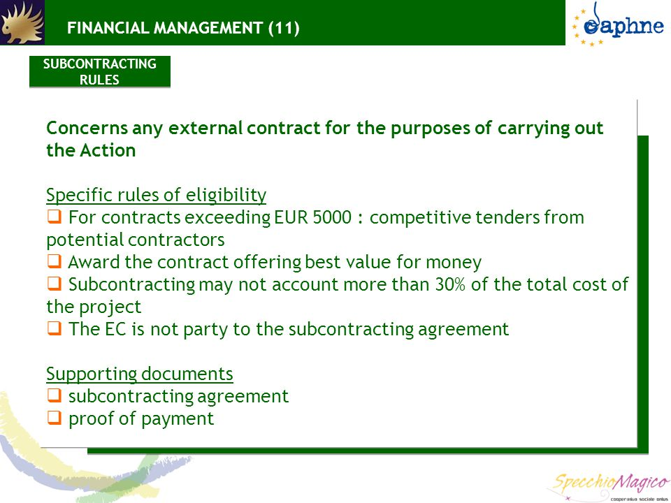 Concerns any external contract for the purposes of carrying out the Action Specific rules of eligibility  For contracts exceeding EUR 5000 : competitive tenders from potential contractors  Award the contract offering best value for money  Subcontracting may not account more than 30% of the total cost of the project  The EC is not party to the subcontracting agreement Supporting documents  subcontracting agreement  proof of payment SUBCONTRACTING RULES FINANCIAL MANAGEMENT (11)