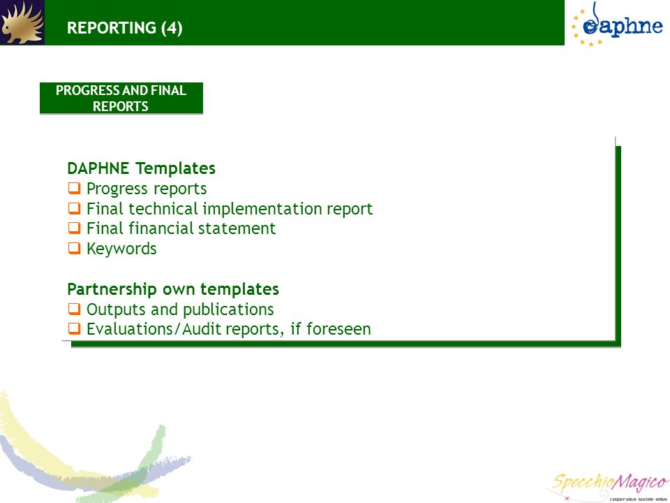 DAPHNE Templates  Progress reports  Final technical implementation report  Final financial statement  Keywords Partnership own templates  Outputs and publications  Evaluations/Audit reports, if foreseen REPORTING (4) PROGRESS AND FINAL REPORTS