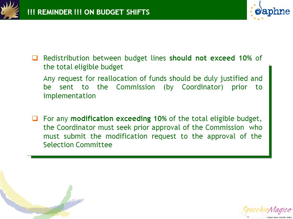 !!! REMINDER !!! ON BUDGET SHIFTS  Redistribution between budget lines should not exceed 10% of the total eligible budget Any request for reallocatio