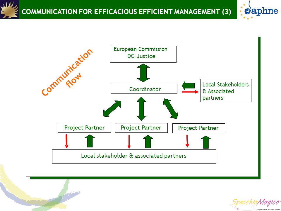 COMMUNICATION FOR EFFICACIOUS EFFICIENT MANAGEMENT (3) Communication flow Project Partner Local stakeholder & associated partners European Commission Local Stakeholders & Associated partners Coordinator Project Partner DG Justice