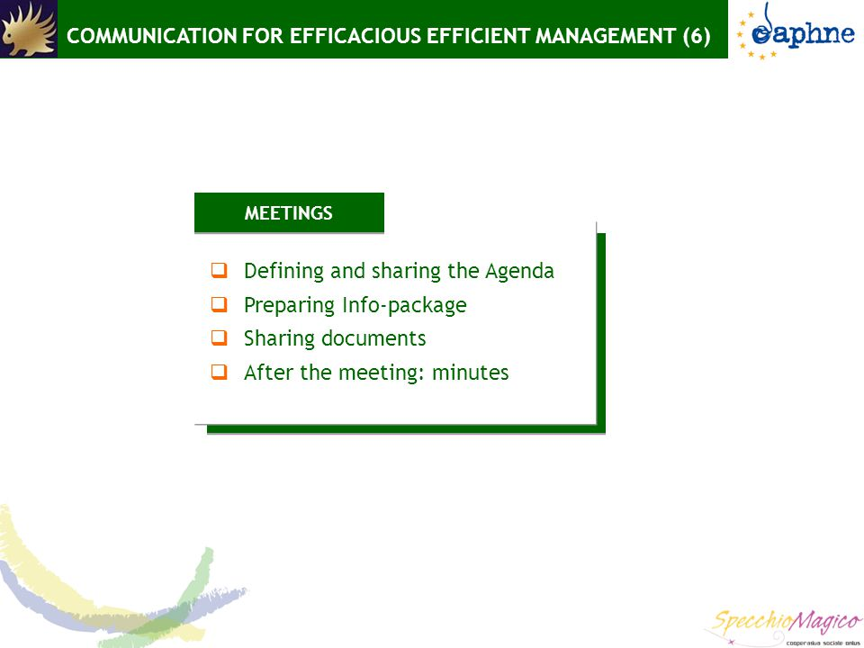 COMMUNICATION FOR EFFICACIOUS EFFICIENT MANAGEMENT (6) MEETINGS  Defining and sharing the Agenda  Preparing Info-package  Sharing documents  After the meeting: minutes