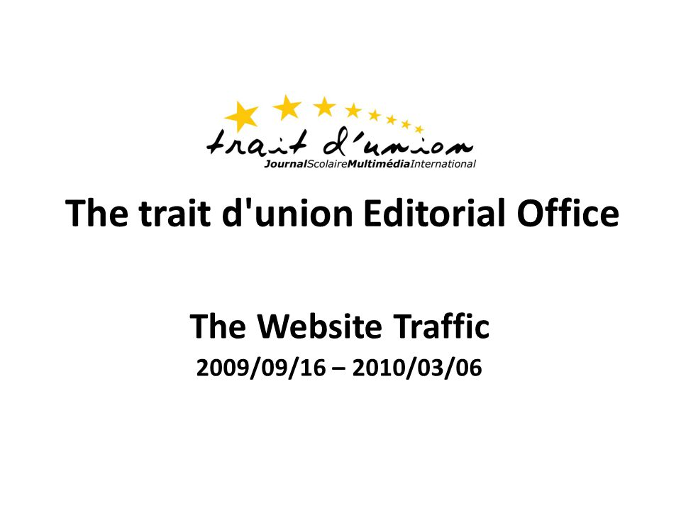 The trait d union Editorial Office The Website Traffic 2009/09/16 – 2010/03/06