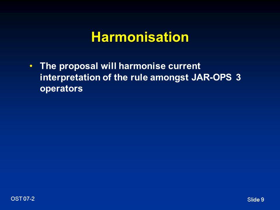 Slide 9 OST 07-2 Harmonisation The proposal will harmonise current interpretation of the rule amongst JAR-OPS 3 operators