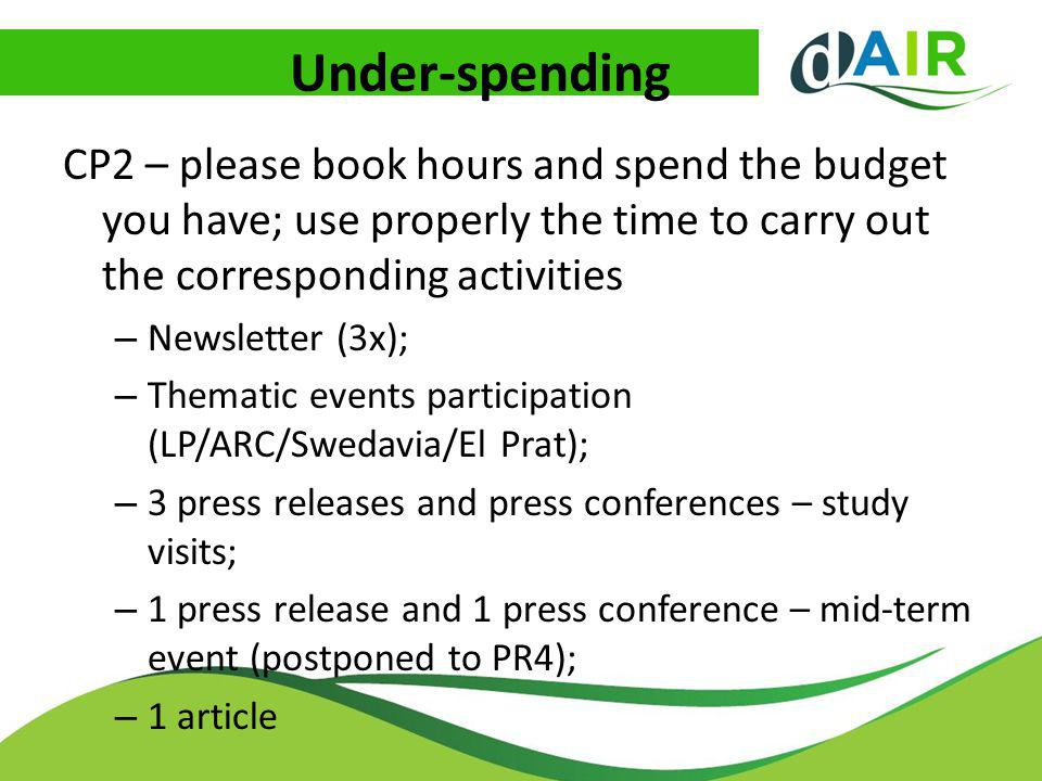 Under-spending CP2 – please book hours and spend the budget you have; use properly the time to carry out the corresponding activities – Newsletter (3x