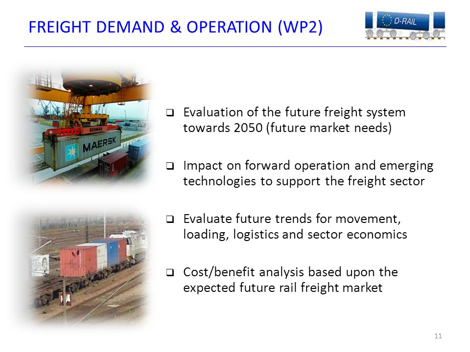 FREIGHT DEMAND & OPERATION (WP2) 11  Evaluation of the future freight system towards 2050 (future market needs)  Impact on forward operation and emerging technologies to support the freight sector  Evaluate future trends for movement, loading, logistics and sector economics  Cost/benefit analysis based upon the expected future rail freight market