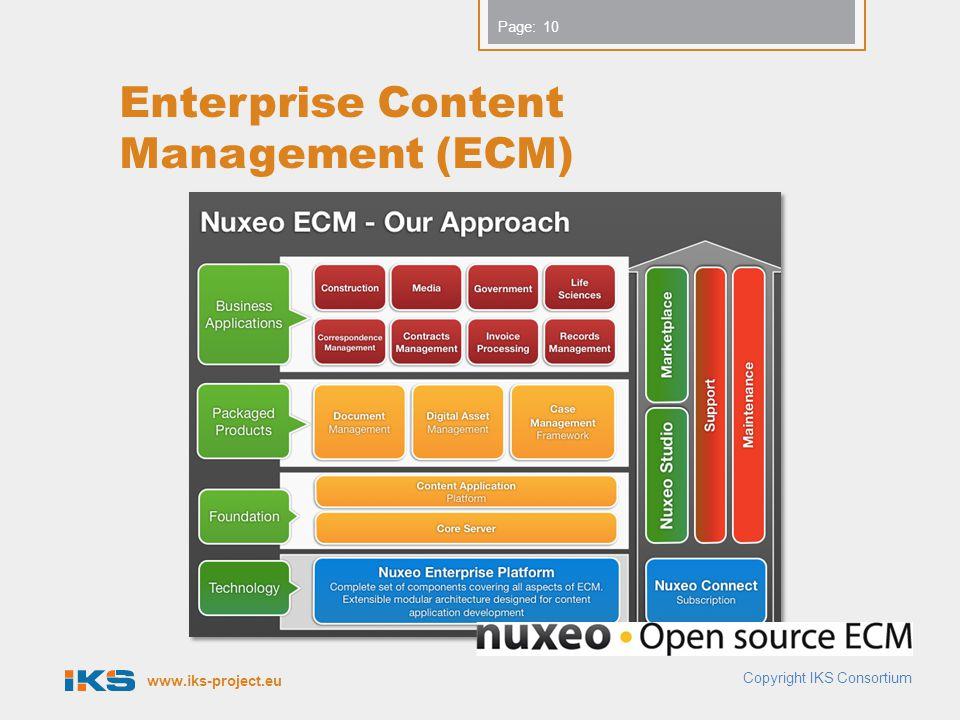 www.iks-project.eu Page: Enterprise Content Management (ECM) Copyright IKS Consortium 10