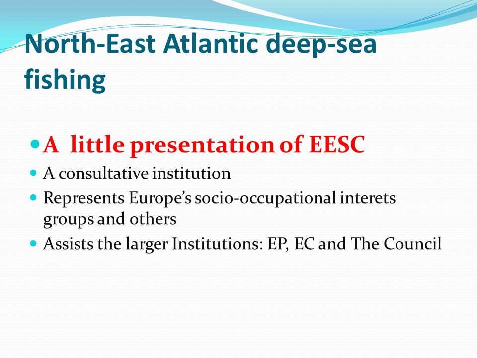 North-East Atlantic deep-sea fishing A little presentation of EESC A consultative institution Represents Europe's socio-occupational interets groups and others Assists the larger Institutions: EP, EC and The Council