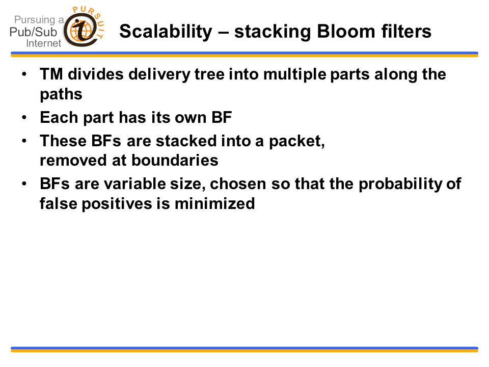 Scalability – stacking Bloom filters TM divides delivery tree into multiple parts along the paths Each part has its own BF These BFs are stacked into a packet, removed at boundaries BFs are variable size, chosen so that the probability of false positives is minimized